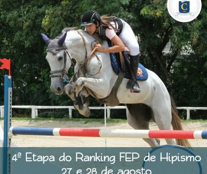 4ª Etapa do Ranking FEP de Hipismo 4ª Etapa do Ranking FEP de Hipismo será disputado neste final de semana, 27 e 28/08, no Caxangá Golf & Country Club