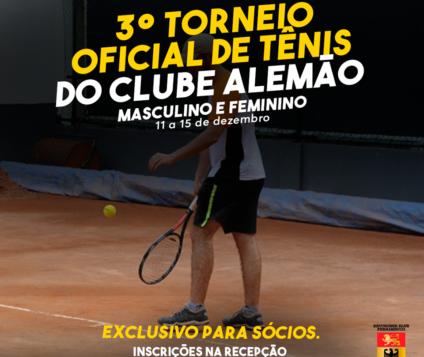 Clube Alemão do Recife encerra o ano com 3º Torneio Oficial de Tênis que está sendo disputado de 11 à 15 de Dezembro